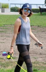 LUCY HALE Walks Her Dog Out in Vancouver 08/07/2017