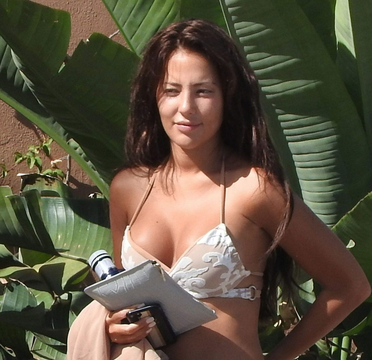 YAZMIN OUKHELLOU at Pool of Her Hotel in Marbella 08/13/2017