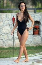 YAZMIN OUKHELLOU in in Swimsuit at a Pool in Turkey 07/17/2017