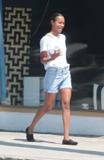 ZOE SALDANA in Shorts Out and About in Los Angeles 08/05/2017