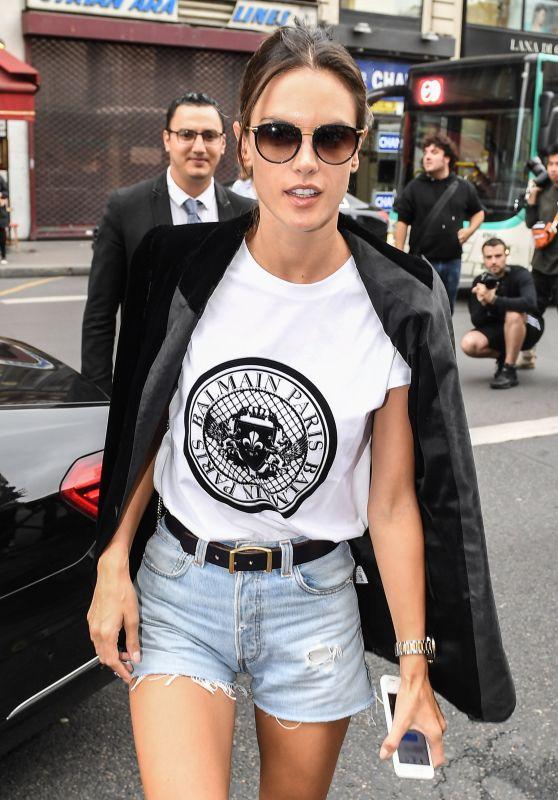 ALESSANDRA AMBROSIO Arrives at Balmain Fashion Show in Paris 09/28/2017