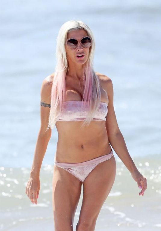 ANGELIQUE FRENCHY MORGAN in Bikini Celebrates Her 42nd Birthday at a Beach in Malibu 09/22/2017