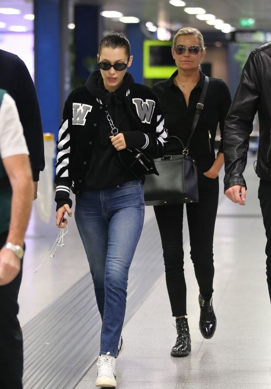 BELLA and YOLANDA HADID at Malpensa Airport in Milan 09/24/2017