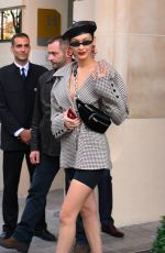BELLA HADID Leaves Her Hotel in Paris 09/27/2017