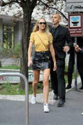 CANDICE SWANEPOEL Leaves Bottega Veneta Fashion Show in Milan 09/23/2017