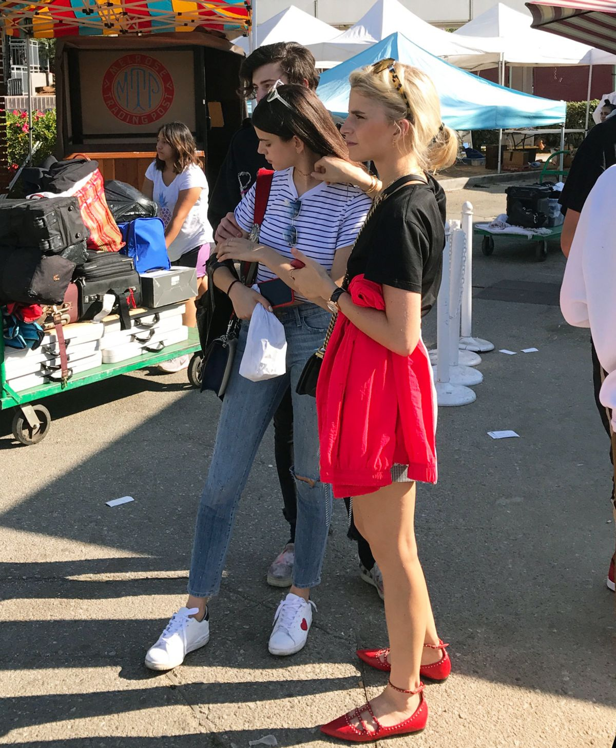 CAROLINE DAUR and SONIA BEN AMMAR at a Flea Market in Hollywood 07/30/2017