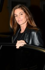 CINDY CRAWFORD Out for Dinner in Milan 09/23/2017