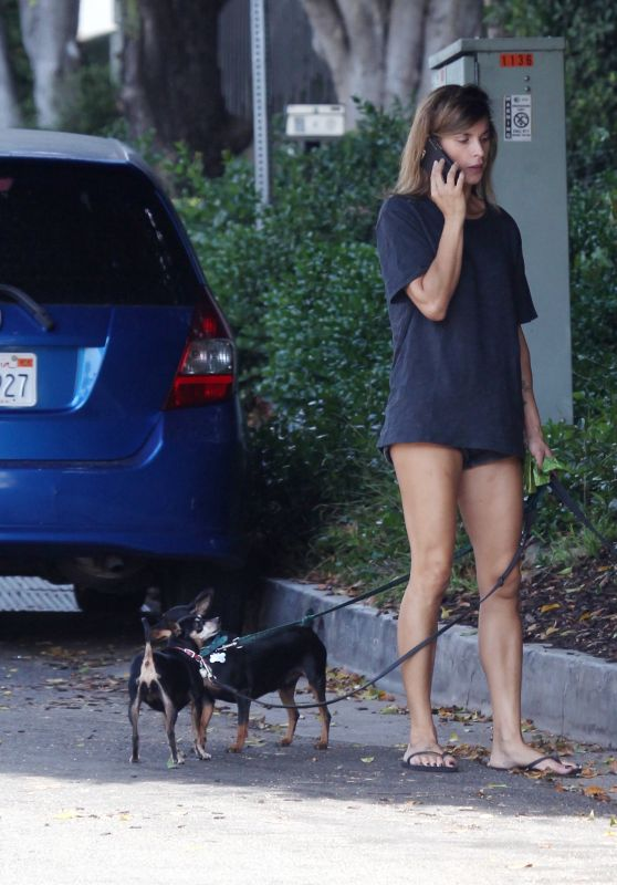 ELISABETTA CANALIS Out with Her Dogs in Beverly Hills 09/23/2017