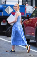 ELLE FANNING Arrives on the Set of Untitled Woody Allen Project in New York 09/25/2017