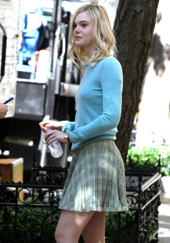 ELLE FANNING on the Set of Untitled Woody Allen Project 09/27/2017