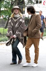 ELLE FANNING on the Set of Woody Allen Movie in New York 09/26/2017