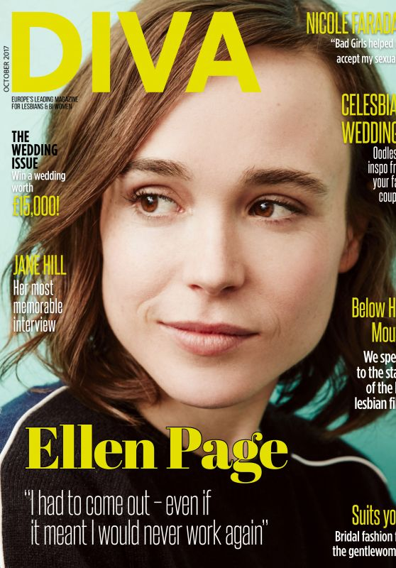 ELLEN PAGE in Diva Magazine, October 2017