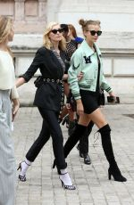 ELSA HOSK and JOSPEHINE SKRIVER Arrives at Balmain Fashion Show in Paris 09/29/2017