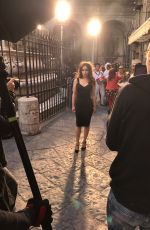 EMILIA CLARKE Filming on the Streets of Naples 09/02/2017
