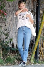 EMMA ROBERTS Having Her Car Washed in Los Angeles 09/26/2017