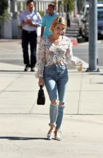 EMMA ROBERTS in Ripped Jeans Out in Los Angeles 09/29/2017