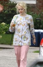 EMMA STONE on the Set of Maniac in New York 08/31/2017