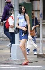 FAMKE JANSSEN in Denim Skirt Out in New York 09/05/2017