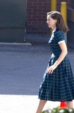 FELICITY JONES on the Pre-Production Set of On the Basis of Sex in Montreal 09/27/2017