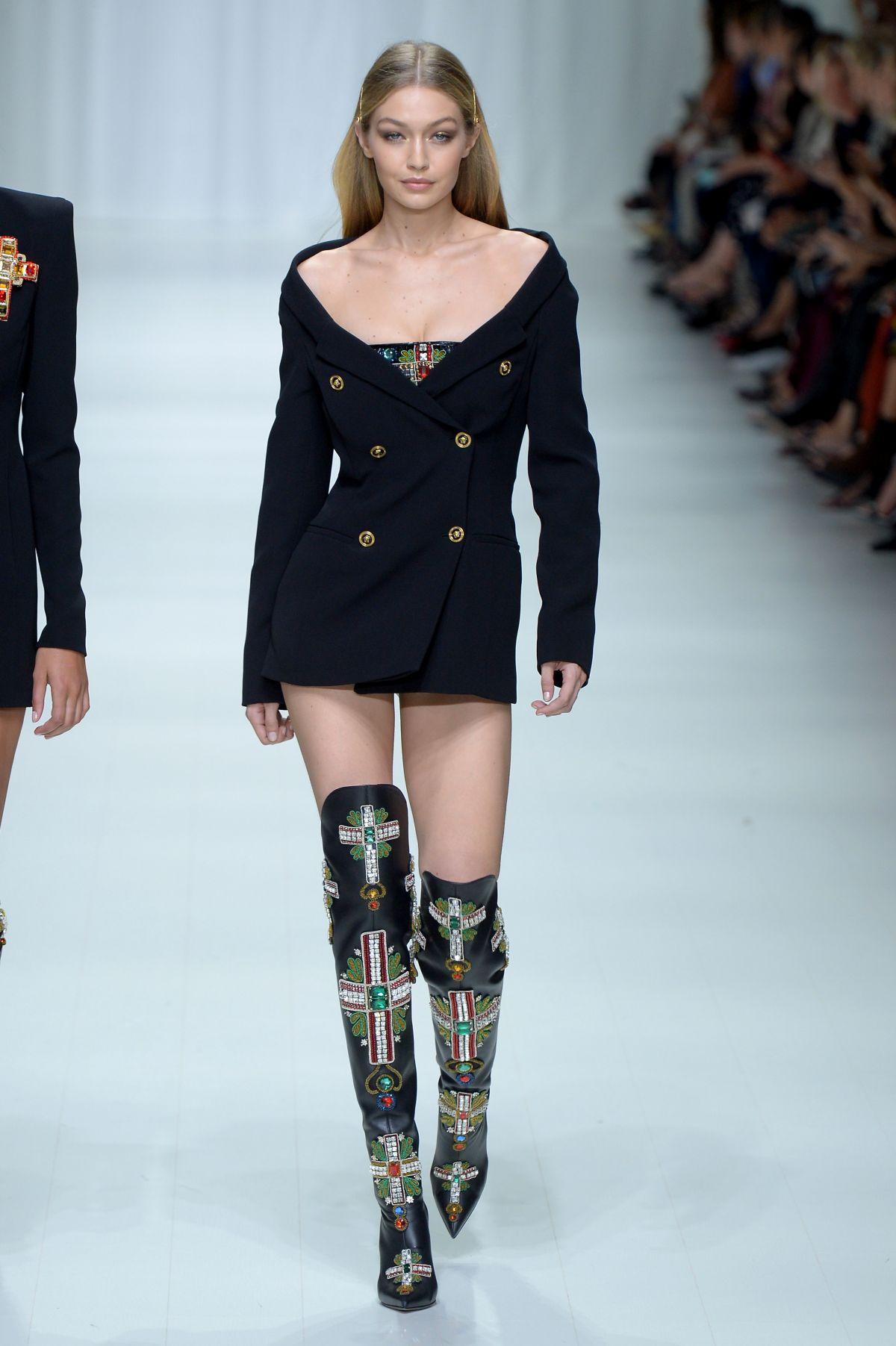 GIGI HADID at Versace Fashion Show at Milan Fashion Week ...