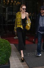 GIGI HADID Leaves Her Hotel in Paris 09/27/2017