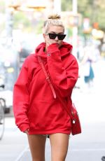 HAILEY BALDWIN in Oversized Red Hoodie Out in New York 09/12/2017