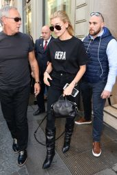 HAILEY BALDWIN Out and About in Milan 09/22/2017