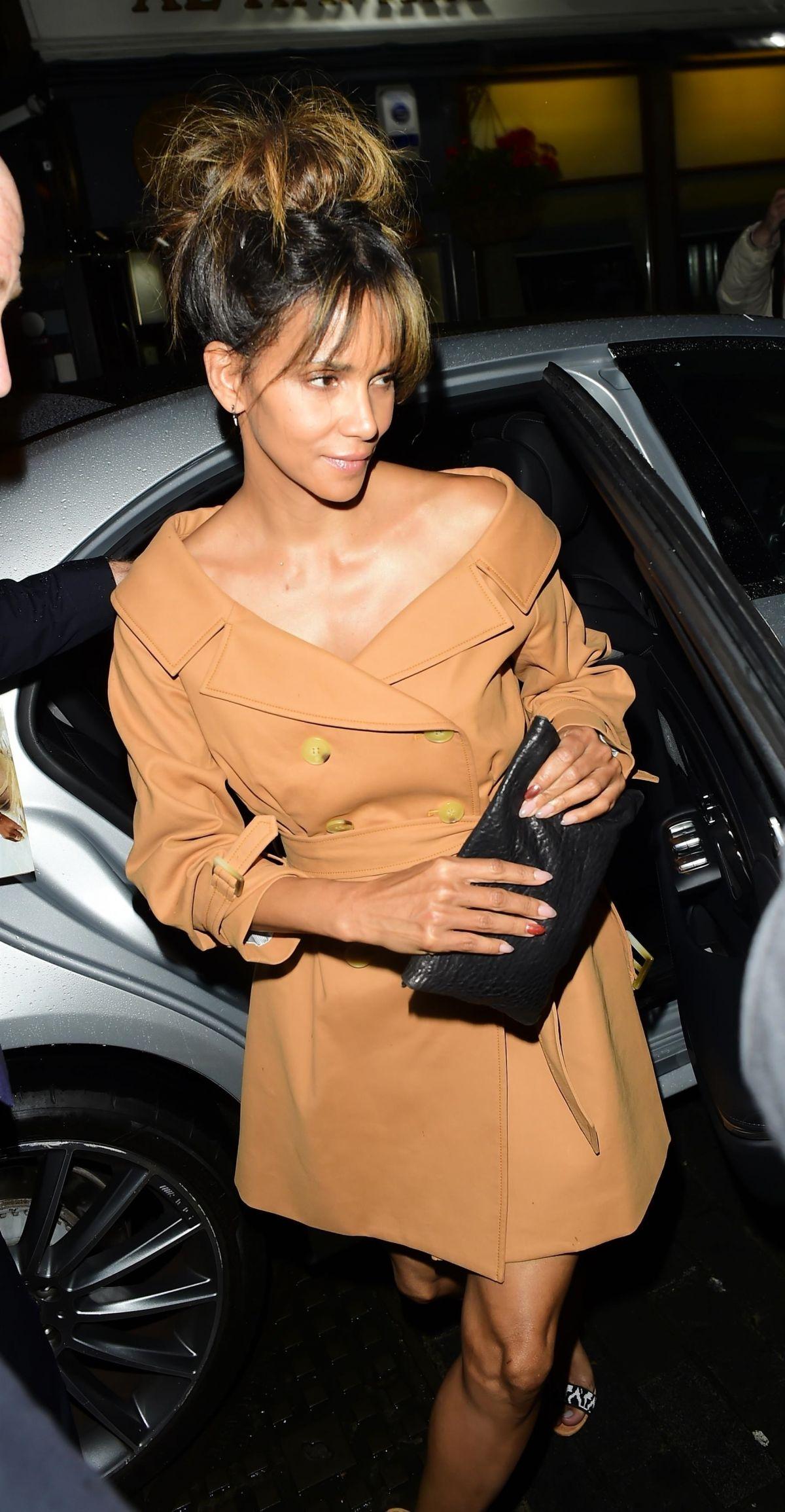 HALLE BERRY Arrives at Love Magazine x Miu Miu Party at London Fashion Week 09/18/2017