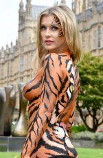 JOANNA KRUPA Wearing Bodypaint Protesting Outside Westminster in London 09/11/2017
