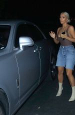 KIM KARDASHIAN in Skintight Bodysuit and Denim Cut-offs Out in Los Angeles 09/15/2017
