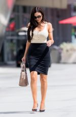 KRYSTLE LINA in a Tan Top and Pencil Skirt Out in Los Angeles 09/25/2017