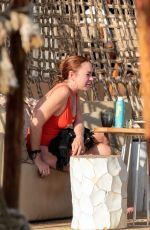 LINDSAY LOHAN in Swimsuit at a Beach in Mykonos 09/03/2017