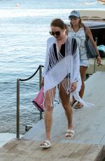 LINDSAY LOHAN Leaves a Yacht in Mykonos 09/04/2017