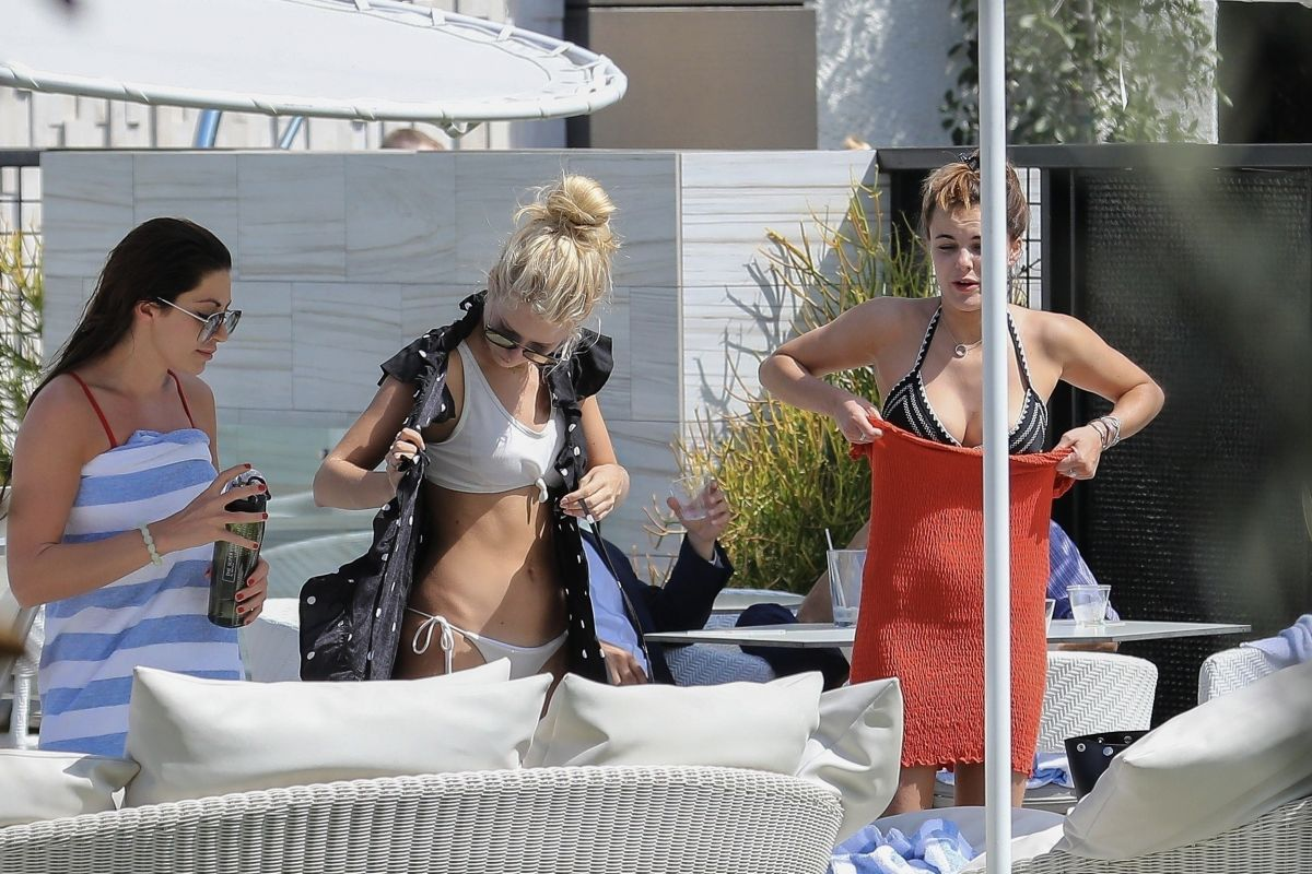LOTTIE MOSS and EMILY BLACKWELL in Bikinis at a Pool in Los Angeles 09/11/2017