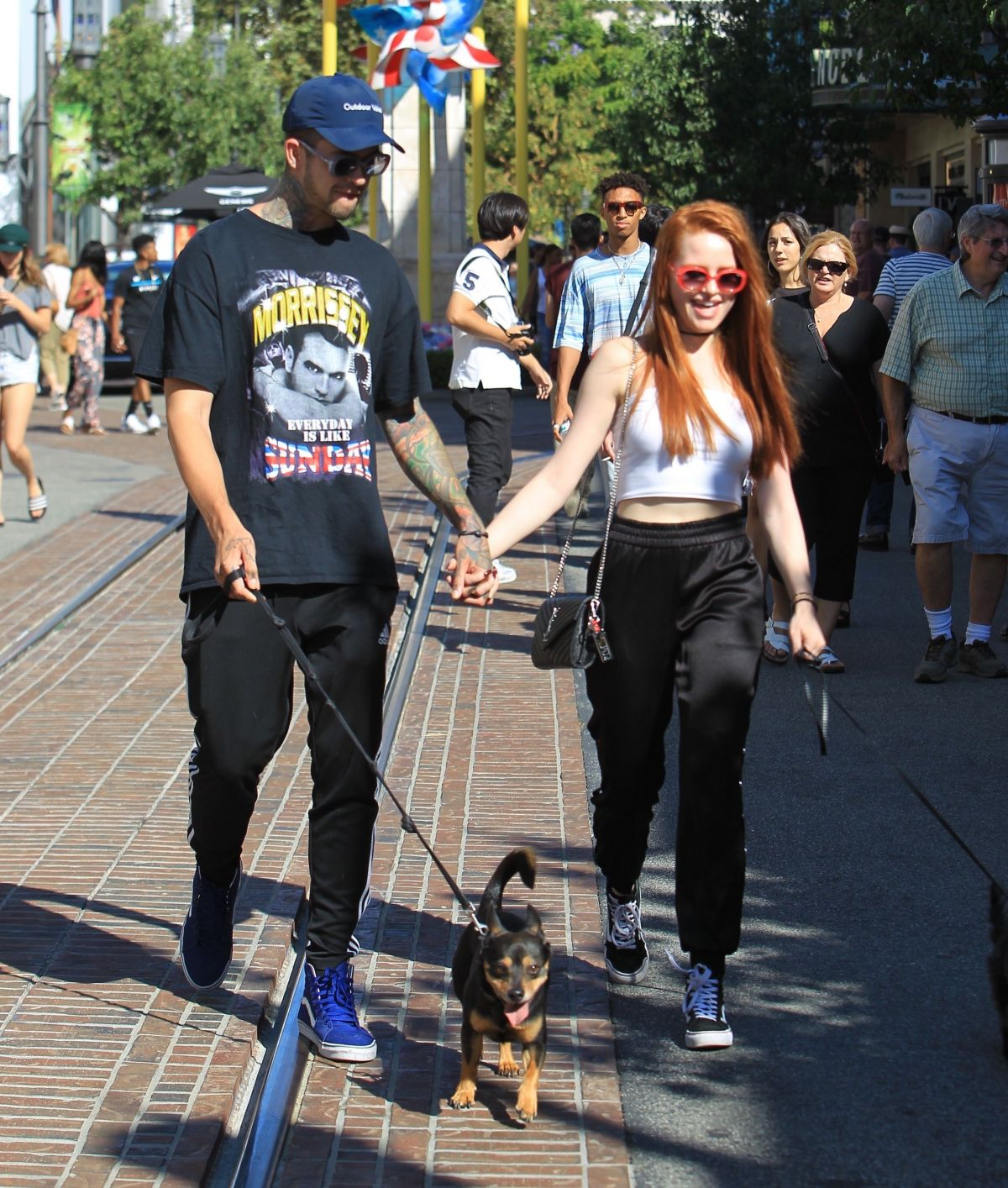 MADELAINE PETSCH and Travis Mills Walks Their Dogs at The Grove in Hollywood 09/09/2017