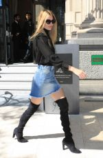 MARTHA HUNT in Denim Skirt Out in Milan 09/20/2017