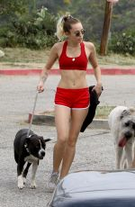 MILEY CYRUS Walks Her Dog Out in Los Angeles 09/08/2017
