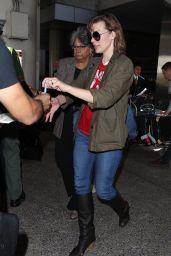 MILLA JOVOVICH at Los Angeles International Airport 09/22/2017