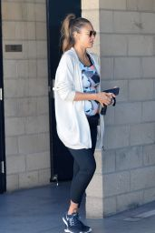 Pregnant JESSICA ALBA Leaves a Gym in Los Angeles 09/23/2017