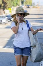 REESE WITHERSPOON in Denim Shorts Shopping at Brentwood Country Mart 09/09/2017