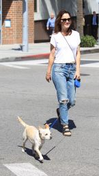 ROBIN TUNEY Walks Her Dog Out in Beverly Hills 09/21/2017