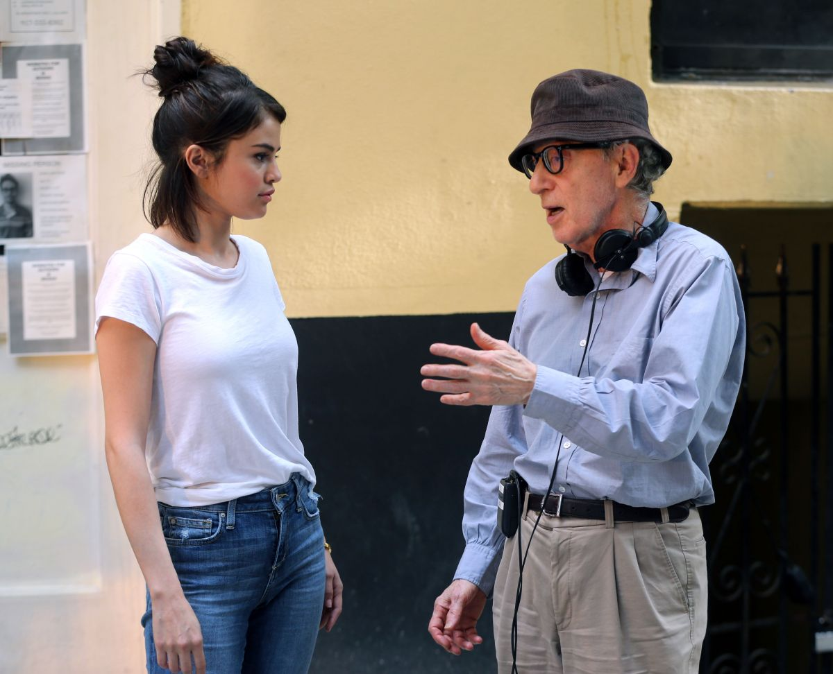 selena gomez and woody allen on the set of woody�s new
