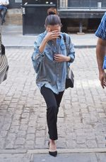 SELENA GOMEZ in Oversized Denim Shirt Out in New York 09/27/2017