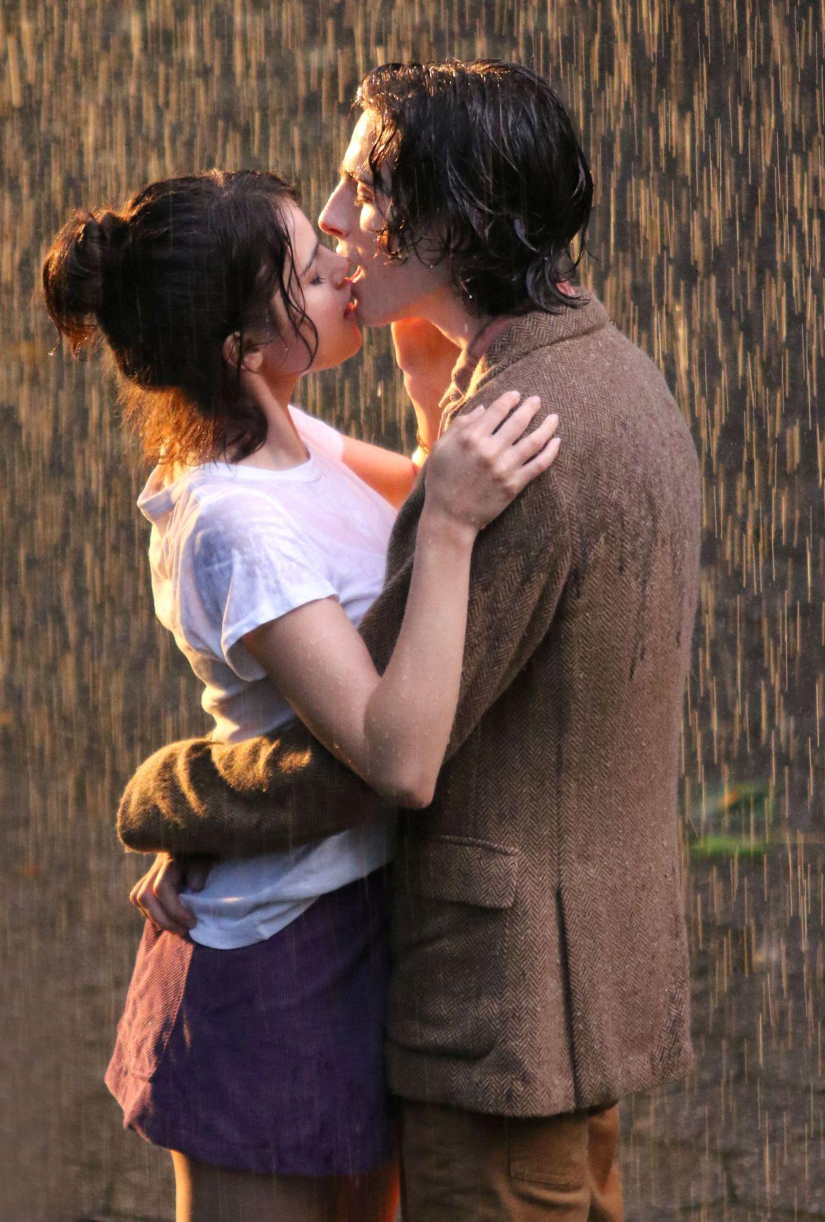 Selena Gomez Kissing On The Rain On The Set Of Untitled