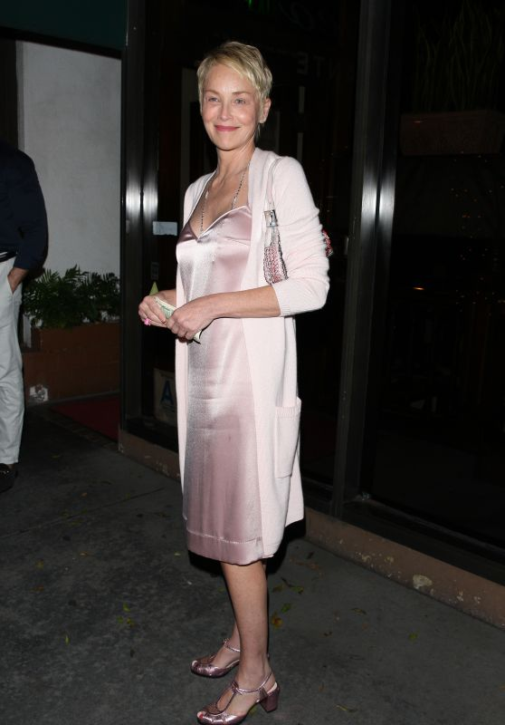 SHARON STONE at Madeo Restaurant in West Hollywood 09/26/2017
