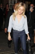 SIENNA MILLER Leaves Apollo Theatre in London 09/26/2017