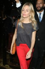 SIENNA MILLER Leaves Apollo Theatre in London 09/27/2017
