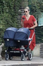 TAMSIN EGERTON Pushes a Double Baby Pram Out in London 09/02/2017