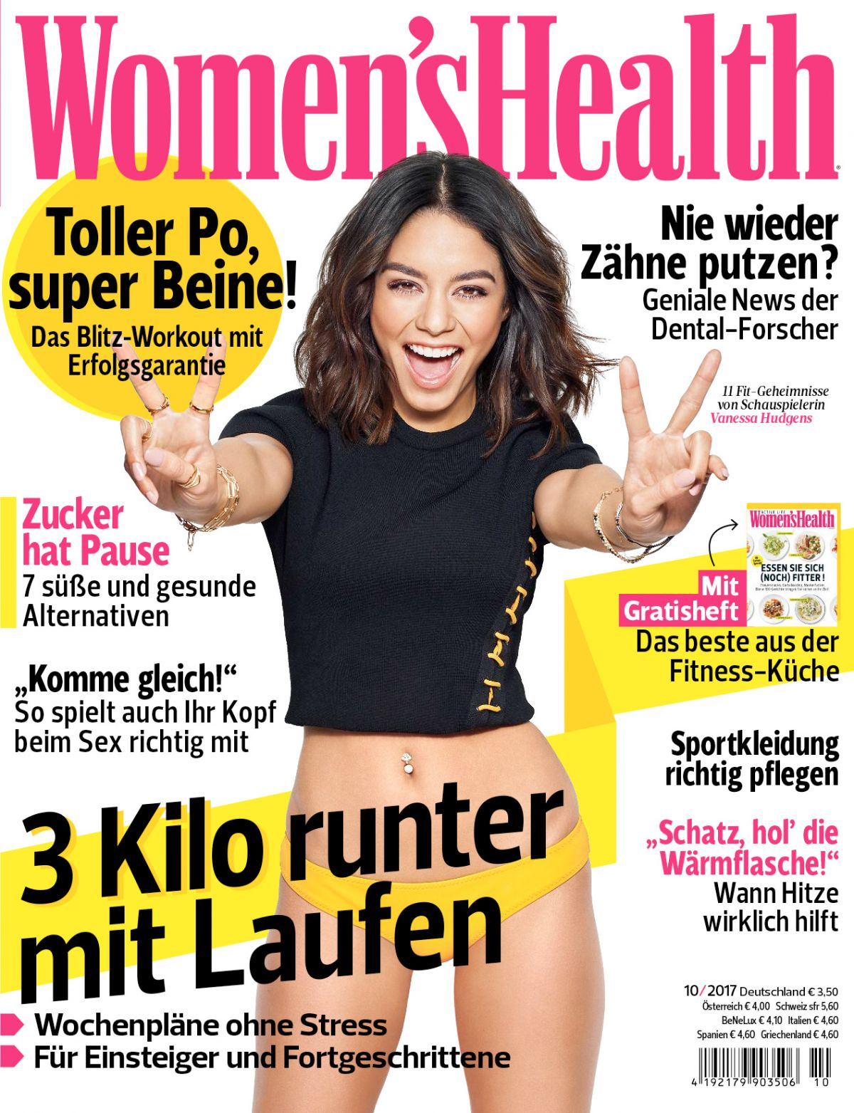 VANESSA HUDGENS in Women's Health Magazine, Germany Oktober 2017