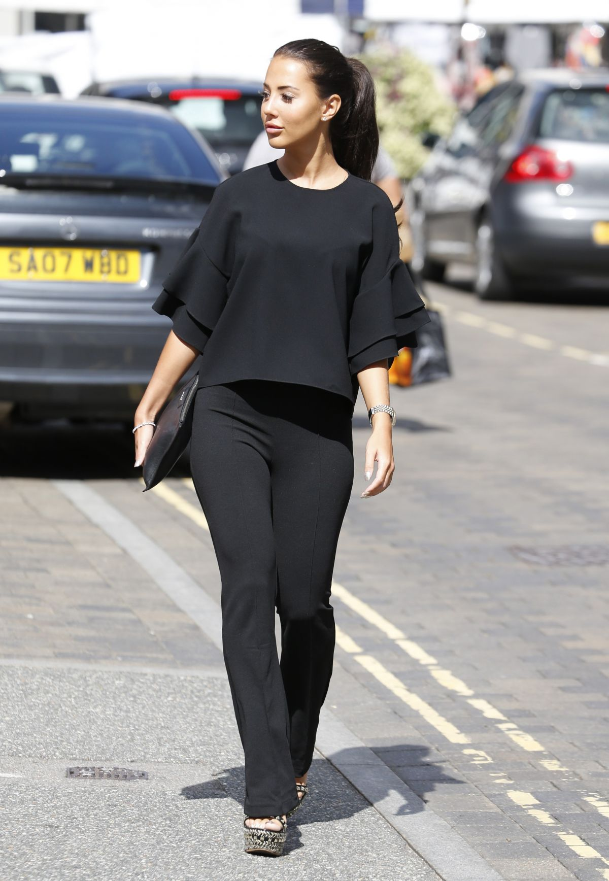YAZMIN OUKHELLOU on the Set of Towie in Brentwood 09/02/2017